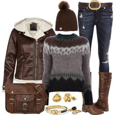 """Beanies, Baby!"" by angela-windsor on Polyvore....like it all except for the holey jeans :)"