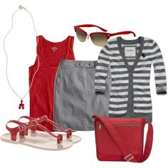 Love the red with the gray stripes and the pencil skirt...cute.