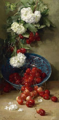 Cherries, Clara von Sivers (German, 1854-1924) - lovely contrast between the white flowers and the shiny red fruits.