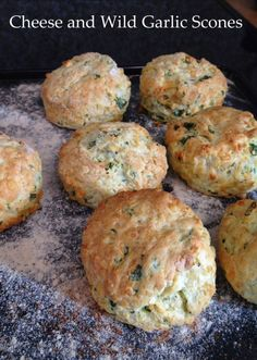Forage for Wild Garlic and bake it into scrumptious Cheese and Wild Garlic Scones. They are quick and easy to make, great to eat with soup. Cheese Scones, Savory Scones, Wild Garlic Pesto, Muffins, Good Food, Yummy Food, Tasty, Garlic Recipes, Savoury Recipes