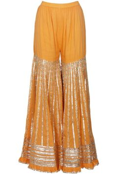 Sukriti & Aakriti presents Orange and silver gota patti embroidered kurta and sharara pants set available only at Pernia's Pop Up Shop. Indian Attire, Indian Wear, Pakistani Outfits, Indian Outfits, Ethnic Fashion, Indian Fashion, Gharara Designs, Sharara, Churidar