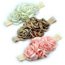 Venta al por menor 3 colores moda en capas de la flor venda elástico tela hechos a mano de la flor venda del bebé para niños accesorios para el cabello(China (Mainland))