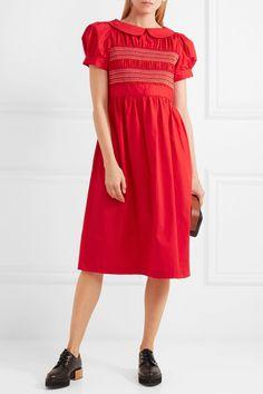 efa7c86d2 Comme des Garçons GIRL - Embroidered shirred cotton-poplin midi dress