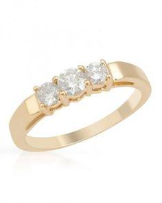 Three Diamonds Gold Ring 0.53 ctw - Rings - Jewelry at Viomart.com #ThreeStoneRings