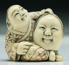 """Description: A Japanese Antique Ivory Netsuke: figure Dimensions: H: 1-1/2"""""""