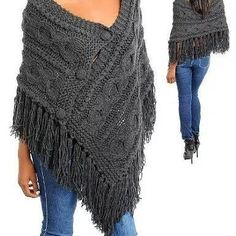 Fashion Square Fringe Knitted Stylish Sweater Poncho(T.Risultati immagini per styling a knit rectangular shawlCapes, Ponchos, Shawls and Wraps for WomenThis Pin was discovered by LorStylish Knitted Sweaters to Make Your Winter Warm Poncho Shawl, Poncho Sweater, Knitted Poncho, Knitted Shawls, Poncho Knitting Patterns, Loom Knitting, Knit Patterns, Knit Or Crochet, Crochet Shawl