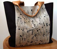 99a49dd1d6d Hand printed Linen panel handbag