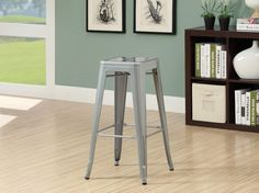 """MONARCH BARSTOOL - 2PCS / 30""""H / SILVER GALVANIZED METAL CAFE"""
