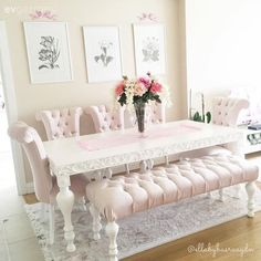 Blush pink dining room