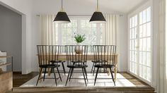 We transform an outdated space into a casual but still sophisticated family and dining room Family Dining Rooms, Blog Images, Dining Room Design, New England, Ceiling Lights, House, Ideas, Home Decor, Decoration Home