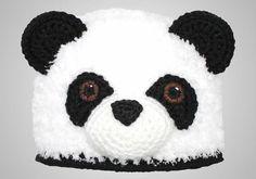 Furry Panda Bear Hat pattern by Joni Memmott / BriAbby Crochet Panda, Crochet Teddy, Bonnet Crochet, Crochet Hats, Half Double Crochet, Single Crochet, Bonnet Panda, Bear Blanket, Panda Bear
