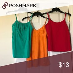 Tank tops Bundle. Green is no size. Orange is small. Red is medium assorted Tops Tank Tops
