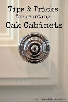 Tips + Tricks for Painting Oak Cabinets - Evolution of Style....I like Decorators White if I decide to have the cabinets painted in the kitchen