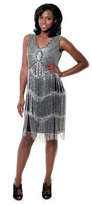Silver Beaded Fringe Reproduction Flapper Dress