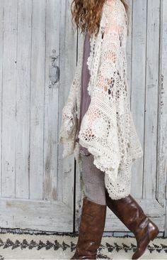 Gilet Crochet, Crochet Cardigan, Mes Demoiselles Paris, Riding Boots, Boho, Knitting, Bling Bling, Cardigans, Kimono
