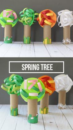 Paper roll four season tree craft for kids. Great preschool craft for spring, summer, fall and winter #fourseasontree #nontoygifts #paperrollcraft #kidscraft #treecraft #seasonalcraft