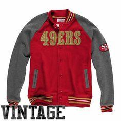 Mitchell & Ness San Francisco 49ers Backward Pass Button-Up Jacket - Scarlet/Charcoal - FansEdge.com