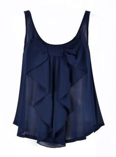 Dark blue top with ruffles and a bow. Link does not take you to the blouse but super cute Mode Style, Style Me, Pretty Outfits, Cute Outfits, Bikini Mode, Look Fashion, Womens Fashion, Moda Vintage, Swagg