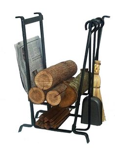 This fireplace set by Enclume holds newspaper, kindling, tools and large logs. Constructed of steel, the fireplace set only weighs 25 lbs. Indoor Firewood Rack, Firewood Holder, Firewood Storage, Fireplace Tool Set, Fireplace Hearth, Floor Wax, Log Holder, Wrought Iron Decor, Tool Steel