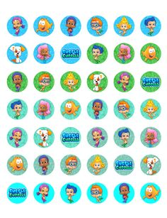 """Bubble Guppies -  Printable 1"""" Bottle Caps  -  42 Different Designs on Etsy, $1.99"""