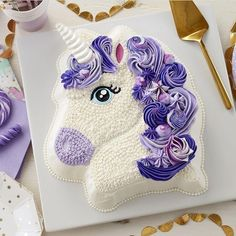 Make your birthday party all the more magical with this Pretty in Purple Unicorn Cake! This cake is sure to be a birthday favorite for… Wilton Cakes, Cupcake Cakes, Sweets Cake, 3d Cakes, Fondant Cakes, Cool Birthday Cakes, Unicorn Birthday Parties, Girl Birthday, Cake Art