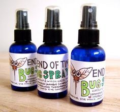 Essential Oil Bug Spray   Fill spray bottle (8 oz) 1/2 full with distilled or boiled water  Add witch hazel to fill almost to the top  Add 30-50 drops of essential oils to desired scent.  Essential oils: choose from Citronella, Clove, Lemongrass, Rosemary, Tea Tree, Cajeput, Eucalyptus, Cedar, Catnip, Lavender, Mint...have to try
