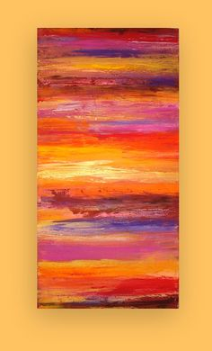 "RESERVED. Art Acrylic Abstract Painting on Canvas Titled: Romance 24x48x1.5"" by Ora Birenbaum"