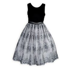 Sparkling Silver Elegance Holiday Dress Luxurious black poly velvet bodice has modest round neckline that dips to a V in back. Full silver poly satin skirt has exquisite shimmering embroider Girls Holiday Dresses, Girls Special Occasion Dresses, Dresses For Tweens, Summer Outfits For Teens, Girls Party Dress, Girls Dresses, Ballet Clothes, Little Girl Dresses, Bodice