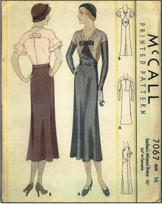 1930s Ladies Dresses with Neckline Bow and Optional Flutter Sleeves - Sewing Pattern - McCall #7067