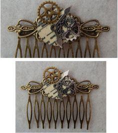 Steampunk Gears Hair Comb NEW Hair Pin Handmade Fashion Silver Gold Accessories
