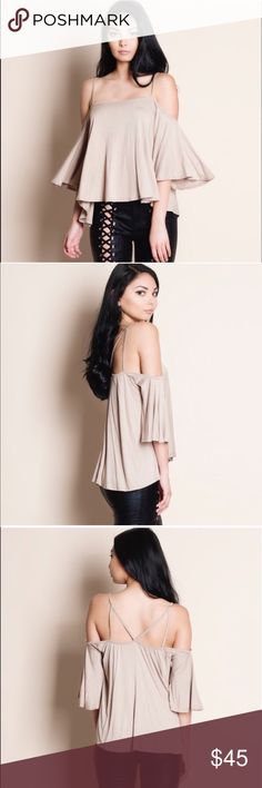 LAST - DEBBIE off shoulder flutter top - TAUPE Darling & oh so perfect for some fun in the sun! Loose fit flutter sleeve top, cold shoulder. PRICE FIRM Bellanblue Tops