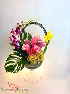 Modern tropical flower arrangement. Designed by Steven Bowles Creative, Naples, FL www.stevenbowlescreative.com