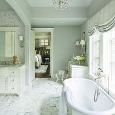Martha O'Hara Interiors - bathrooms - gray walls, gray wall color, marble floor tile, marble tiled floors, marble bathroom floors, white vanity