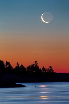 Crescent Moon at Popham Beach, Maine