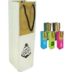 """Wine and dine potential customers with our Sicily Wine Bag! Each bag is made of 600 denier polyester and woven """"jute like"""" material with metal grommets and rope handles. Each measures 13-4/5""""h x 4""""w with a 4"""" gusset. Customize this product with your logo to create a fun corporate gift. It's great for carrying your favorite wine, specialty bottles of infused oils or vinegar or even event t-shirts! What an excellent opportunity to increase brand recognition!"""