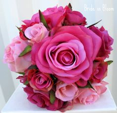 Wedding Bouquet pink rose Bridesmaid by BrideinBloomWeddings, $55.00