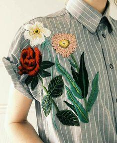 Folk Embroidery Ideas Embroider an old pin stripe boyfriend shirt forcthat folk boho street style look Folk Embroidery, Vintage Embroidery, Embroidery Dress, Floral Embroidery, Embroidery Stitches, Embroidery Patterns, Geometric Embroidery, Tessa Perlow, Lazy Daisy Stitch