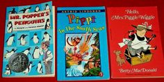3 Mrs. Piggle-Wiggle Pippi Mr. Popper's Penguins Chapter Books 3rd 4th 5th Grade