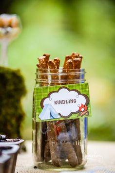 """Camping Ideas:  Labeling Rod pretzels """"Kindling"""""""