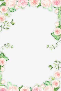 Romantic Pink Flower frontera, Hojas, Flores, Flores De Color Rosa PNG Image and Clipart