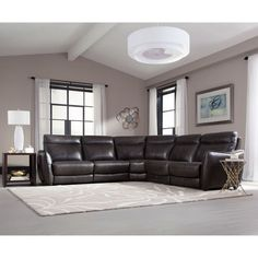 Logan Creek Top Grain Leather Reclining Sectional