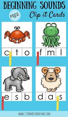 Beginning Sound Kindergarten Activity: FREE Beginning Sounds Clip it Cards are a great way to help toddler preschool and kindergarten age children who are beginning to learn letters and their sounds practice in a fun way (phonics homeschool preschooler) Preschool Phonics, Preschool Learning, Kindergarten Activities, Toddler Preschool, Phonics Rhymes, Jolly Phonics Activities, Preschool Alphabet, Teaching Phonics, Kindergarten Centers