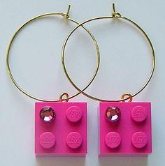 these are cute & I love legos :^)   Dark Pink LEGO brick 2x2 with a Pink SWAROVSKI by MademoiselleAlma, $14.99 -
