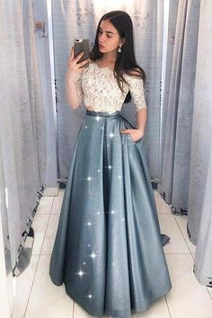 Two Pieces Half Sleeve Lace Grey Long Evening Prom Dresses, Cheap Sweet 16 Dress. - - Two Pieces Half Sleeve Lace Grey Long Evening Prom Dresses, Cheap Sweet 16 Dresses, 18433 Source by loverbridalcooffical Indian Gowns Dresses, A Line Prom Dresses, Cheap Prom Dresses, Trendy Dresses, Evening Dresses, Fashion Dresses, Fashion Styles, Cheap Dress, Fashion 2018
