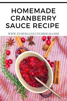 This delicious cranberry sauce is easy to make and is perfect for Thanksgiving and Christmas. It also is vegan and uses agave to sweeten it so it is refined sugar free. Best Cranberry Sauce, Cranberry Recipes, Vegetarian Side Dishes, Vegan Main Dishes, Alton Brown, Christmas Recipes, Holiday Recipes, Vegan Christmas, Vegan Recipes Easy