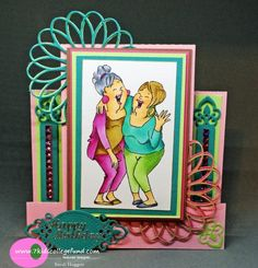 Art Impressions: Ai Girlfriends: Laughing Set. ...handmade birthday card.