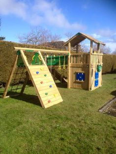 Jungle gym-ni completed a chalet with playhouse and a bridge with climb module Tree House Playground, Kids Backyard Playground, Backyard Swing Sets, Backyard Playset, Backyard For Kids, Backyard Projects, Playset Diy, Outdoor Playset, Greenhouse Shed Combo