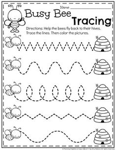 Preschool Bug Worksheets for Spring - Tracing Lines