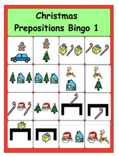 Christmas Prepositions Bingo---from chapel hill Preschool Christmas, Christmas Bingo, Christmas Activities, Christmas Printables, Family Christmas, Christmas Gifts, Speech Therapy Activities, Language Activities, Speech Language Pathology