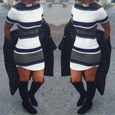 Fashion Stripe Print Tight Mini Dress
